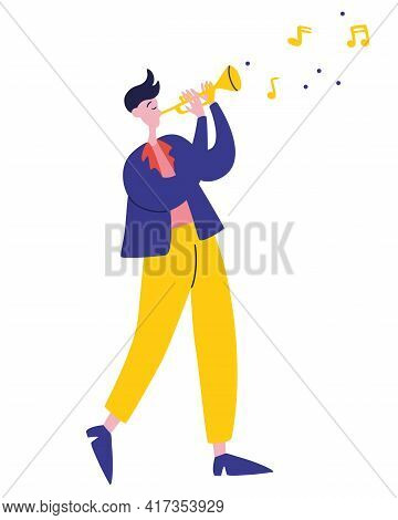 Young Guy Plays The Trumpet Jazz Music. Man Playing Melody Musician Golden Trumpet, Orchestra Perfor