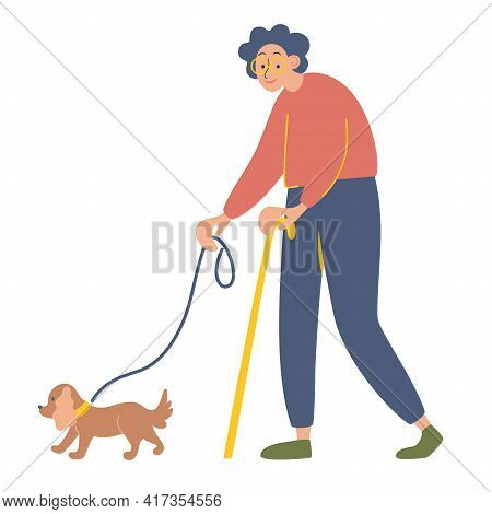 Elderly Woman With A Cane On A Walk With Her Beloved Dog. Happy Old Lady With Her Favorite Pet. Heal