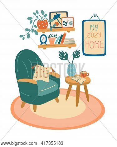 Living Room Interior. Armchair, Coffee Table, Shelf With Books And Plants In Pots, Pictures In Frame