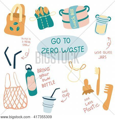 Zero Waste Vector Illustrations Set. Durable And Reusable Items Or Products - Glass Jars, Eco Grocer