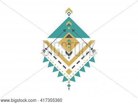Colorful Mexican Aztec Tribal Sacred Geometry Logo Design Isolated On White Background. Sacred Alche