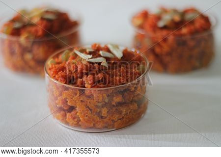 Carrot Based Sweet Dessert Pudding From The Indian Subcontinent. Made With Grated Carrots, Milk, Sug