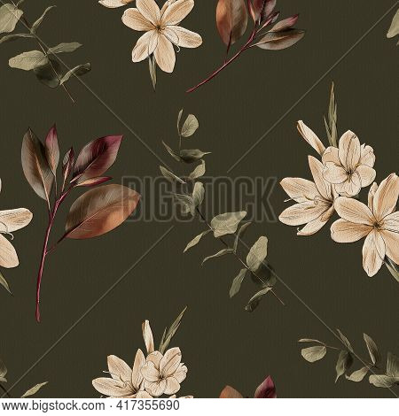 Botanical Vintage Seamless Pattern. Flowers And Branches On A Green Background, Watercolor Painting,