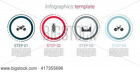 Set Motorcycle, Longboard Skateboard, Skate Park And Bicycle. Business Infographic Template. Vector