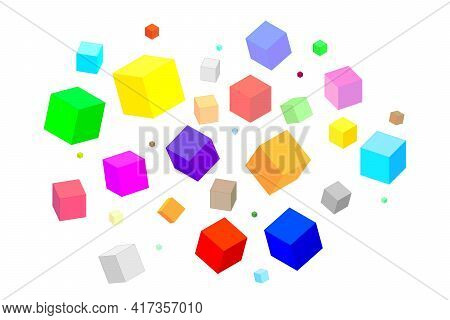 Multi-colored Isometric Squares Of Different Sizes And Shapes On A White Background