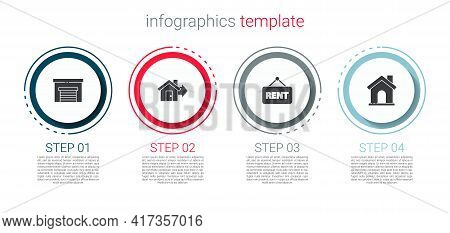 Set Garage, Sale House, Hanging Sign With Rent And House. Business Infographic Template. Vector