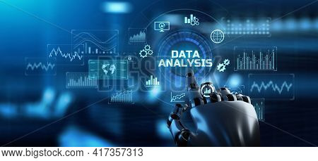 Data Analysis Analytics Financial Technology Business Concept. Robotic Arm 3d Rendering