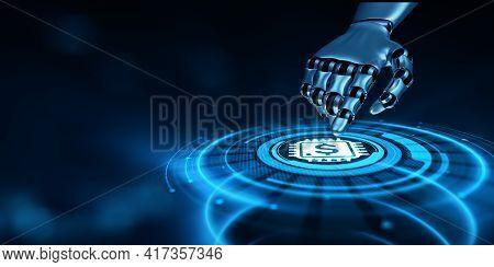 Fintech Financial Technology Online Banking. Robot Hand Pressing Virtual Button 3d Render