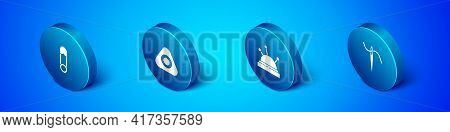 Set Isometric Safety Pin, Needle Bed And Needles, For Sewing With Thread And Sewing Chalk Icon. Vect
