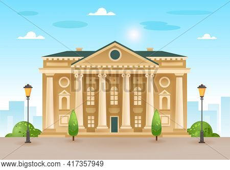 Palace, Courthouse, Theater, Parliament Or Museum. Classicism. The Facade Of A Classic Public Buildi