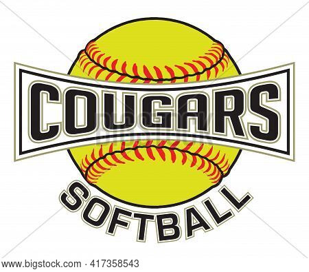 Cougars Softball Graphic Is A Sports Design Which Includes A Softball And Text And Is Perfect For Yo
