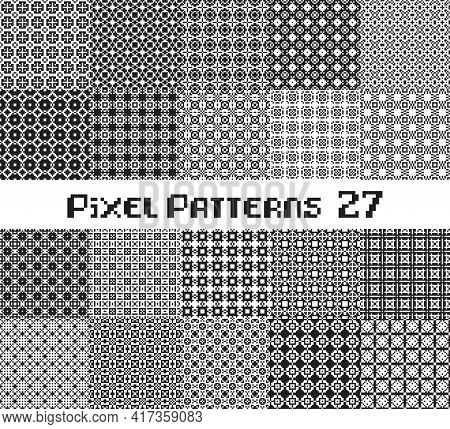 Abstract Seamless Pattern In Pixel Style. Set Geometric Design Background.