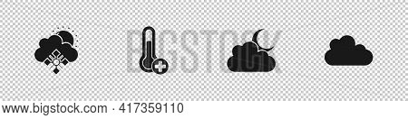 Set Cloud With Snow And Sun, Meteorology Thermometer, Moon And Icon. Vector