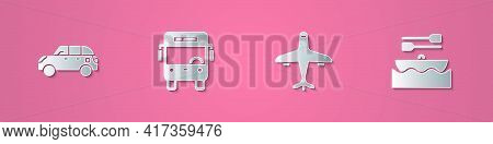Set Paper Cut Hatchback Car, Bus, Plane And Boat With Oars Icon. Paper Art Style. Vector