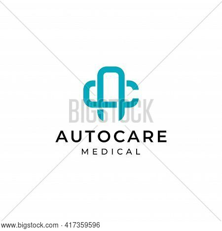 A Clean And Unique Logo About The Letter Ac And Cross Medical Health. Eps10. Vector.