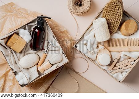 Beauty Boxes With Natural Organic Cosmetics. Spa, Body Care, Haircare Concept. Zero Waste, Eco-frien