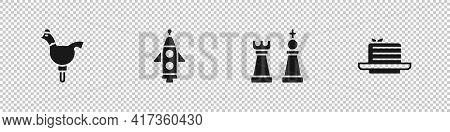Set Cockerel Lollipop, Rocket Ship, Chess And Medovik Icon. Vector