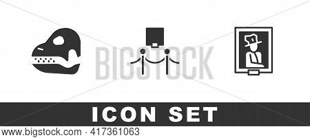 Set Dinosaur Skull, Picture And Rope Barrier And Portrait Museum Icon. Vector
