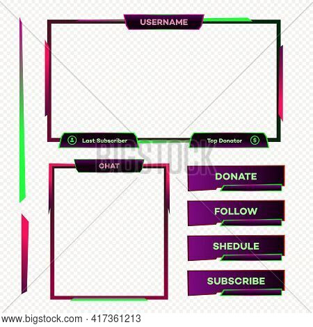 Streaming Screen Panel Overlay Game Neon Theme. Live Video, Online Stream Futuristic Technology Styl