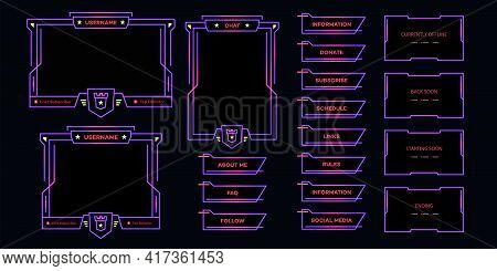 Vector Streaming Screen Panel Overlay Neon Theme. Live Video, Online Stream Futuristic Technology St
