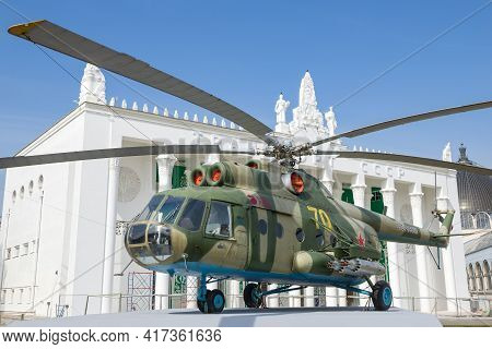 Moscow, Russia - April 14, 2021: Soviet Multi-purpose Mi-8 Helicopter Against The Background Of The