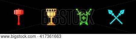 Set Hammer, Medieval Goblet, Shield With Swords And Crossed Medieval Spears Icon. Vector
