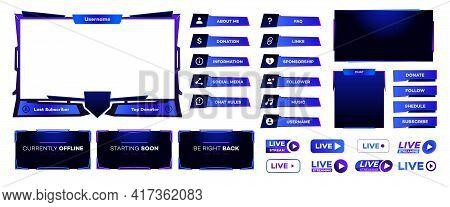 Stream Screen Panel Overlay Template Neon Theme. Live Video, Online Stream Futuristic Technology Sty