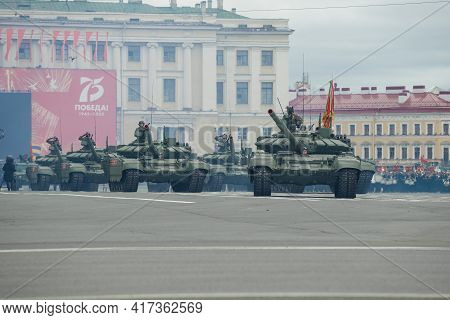 St. Petersburg, Russia - June 20, 2020: Convoy Of Russian Tanks On The Rehearsal Of The Military Par
