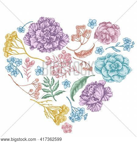 Heart Floral Design With Pastel Wax Flower, Forget Me Not Flower, Tansy, Ardisia, Brassica, Decorati