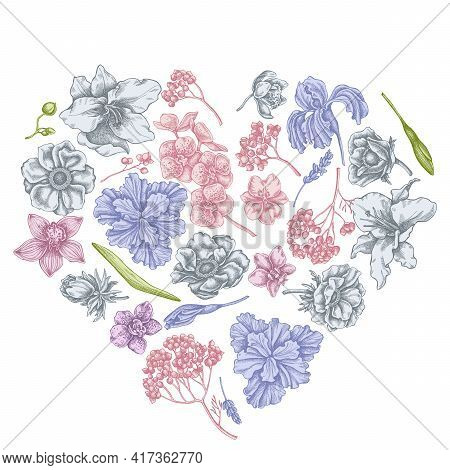 Heart Floral Design With Pastel Anemone, Lavender, Rosemary Everlasting, Phalaenopsis, Lily, Iris St