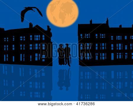 Blue Night City With Couple