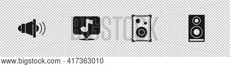 Set Speaker Volume, Musical Note, Stereo Speaker And Icon. Vector