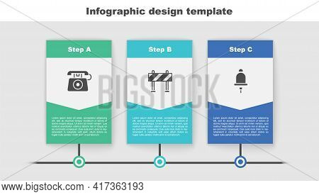 Set Telephone Call 911, Road Barrier And Ringing Alarm Bell. Business Infographic Template. Vector