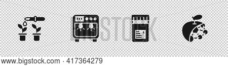 Set Pipette And Plant, Biosafety Box, Jar With Additives And Biological Structure Icon. Vector