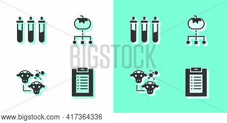 Set Clinical Record, Reagent Bottle, Cloning And Genetically Modified Food Icon. Vector