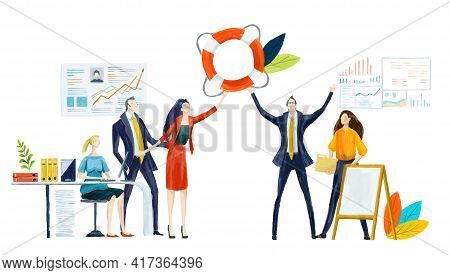 Digital Illustration Group Of Business People Work In Office By Desks. Holding Up Aim, Target. Suppo