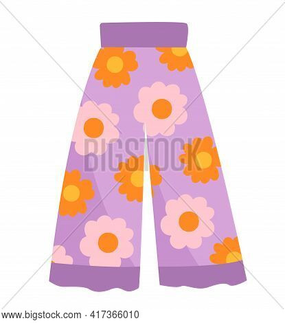 Cute Vibrant Colorful Purple Trousers With Flowers Print. Comfortable Bright Clothing Piece With Des