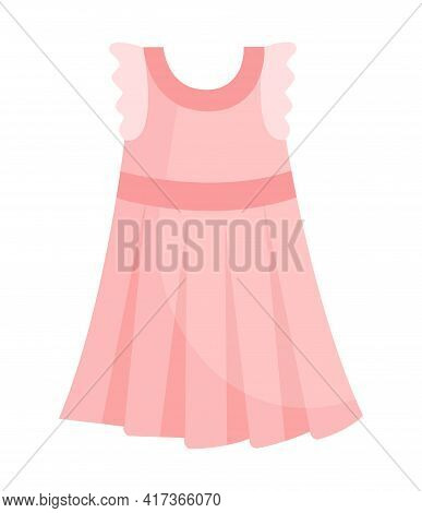 Cute Elegant Child Light Pink Dress For Special Occasions. Comfortable Bright Clothing Piece With De