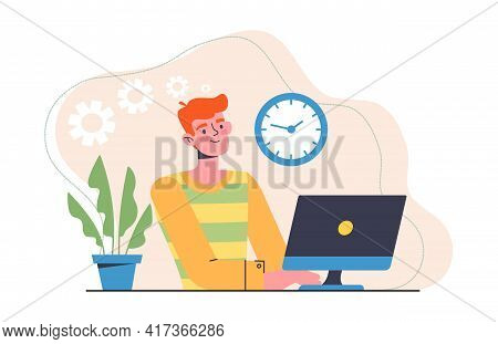Young Male Character Is Working As A Freelance Designer. Cheerful Redhead Man Is Working On Computer