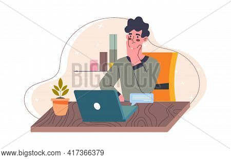 Young Male Character Is Working As A Freelance Content Maker. Focused Man Is Working On Laptop Remot