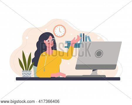Young Female Character Is Working As A Freelance Copywriter. Smiling Woman In Glasses Is Working On