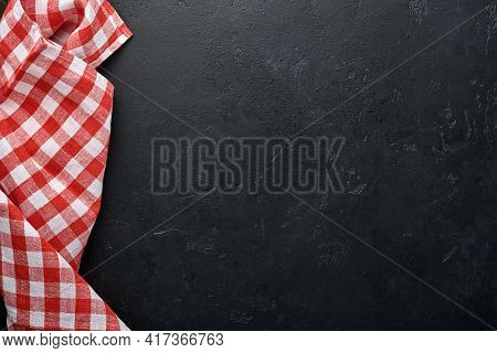 Red Tablecloth On Kitchen Table Black Color With For Your Recipe Or Menu. Top View Flat Lay. Mock Up
