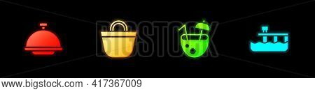 Set Covered With Tray, Beach Bag, Coconut Cocktail And Pier Dock Icon. Vector