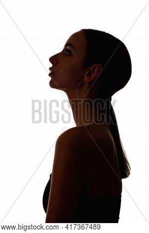 Female Profile Silhouette. Spiritual Faith. Belief Inspiration. Dark Contrast Shape Portrait Of Hope