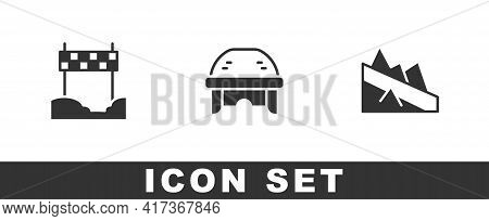 Set Ribbon In Finishing Line, Hockey Helmet And Mountain Descent Icon. Vector
