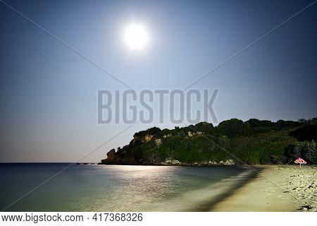 Rocky Peninsula In The Full Moonlight On Zakynthos Island In Greece