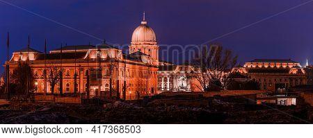 Hungary, Budapest At Night, Buda Castle Illuminated By Lights