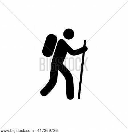 Silhouette Boy Standing With Raised Hands In Mountains. Illustration Graphics Icon
