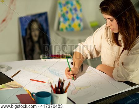 Artistic Woman. Art School. Leisure Hobby. Creative Lesson. Inspiration Muse. Pretty Lady Drawing On