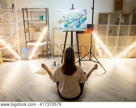 Creative Female Artist. Inspiration Muse. Painting Artwork. Find Ideas. Meditating Woman Sitting Lot